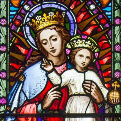 Blessed Virgin Mary stained glass - The Lady Chapel of St Cuthbert's Catholic Church - Durham, England
