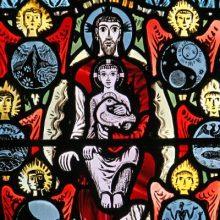 Trinity stained glass - St Etheldreda's Church – London, England