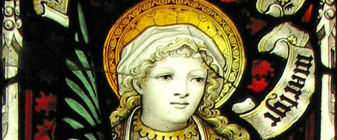 St. Lucy stained glass - Holy Trinity Church - Skipton, North Yorkshire, England