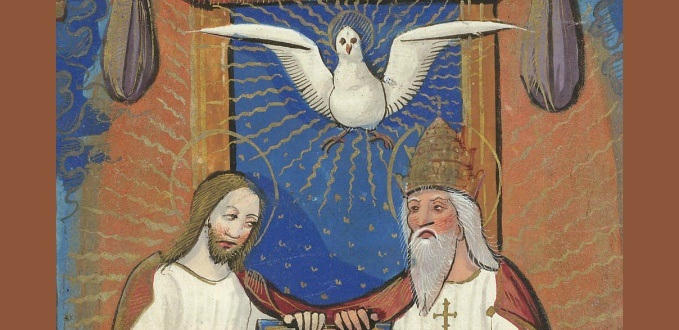 Detail of a miniature of the Trinity - Book of Hours – British Library Sloane Collection – London, England