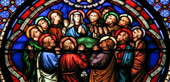 Stained glass of the Apostles - St Mary de Castro Church – Leicester, England