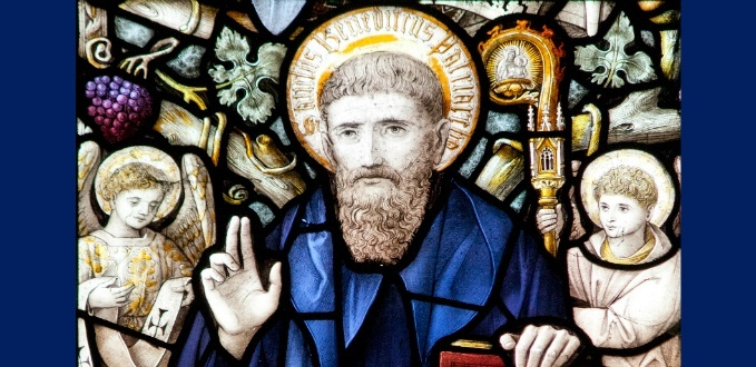 St. Benedict stained glass - Downside Abbey, Somerset, England