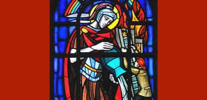 St. Florian stained glass - St. Robert Bellarmine - Burbank, CA